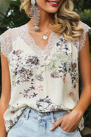 C+D+M Eyelash Lace Trimmed Floral Top - Product Mini Image