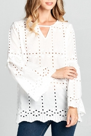 Cotton Bleu Eyelet Bell-Sleeve Top - Product Mini Image