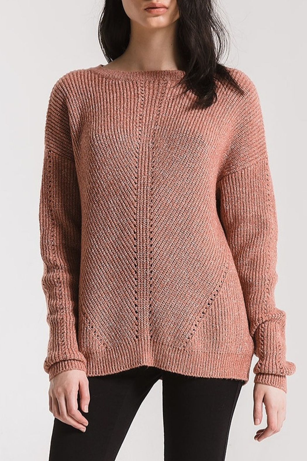 rag poets Eyelet Crew Sweater - Front Cropped Image