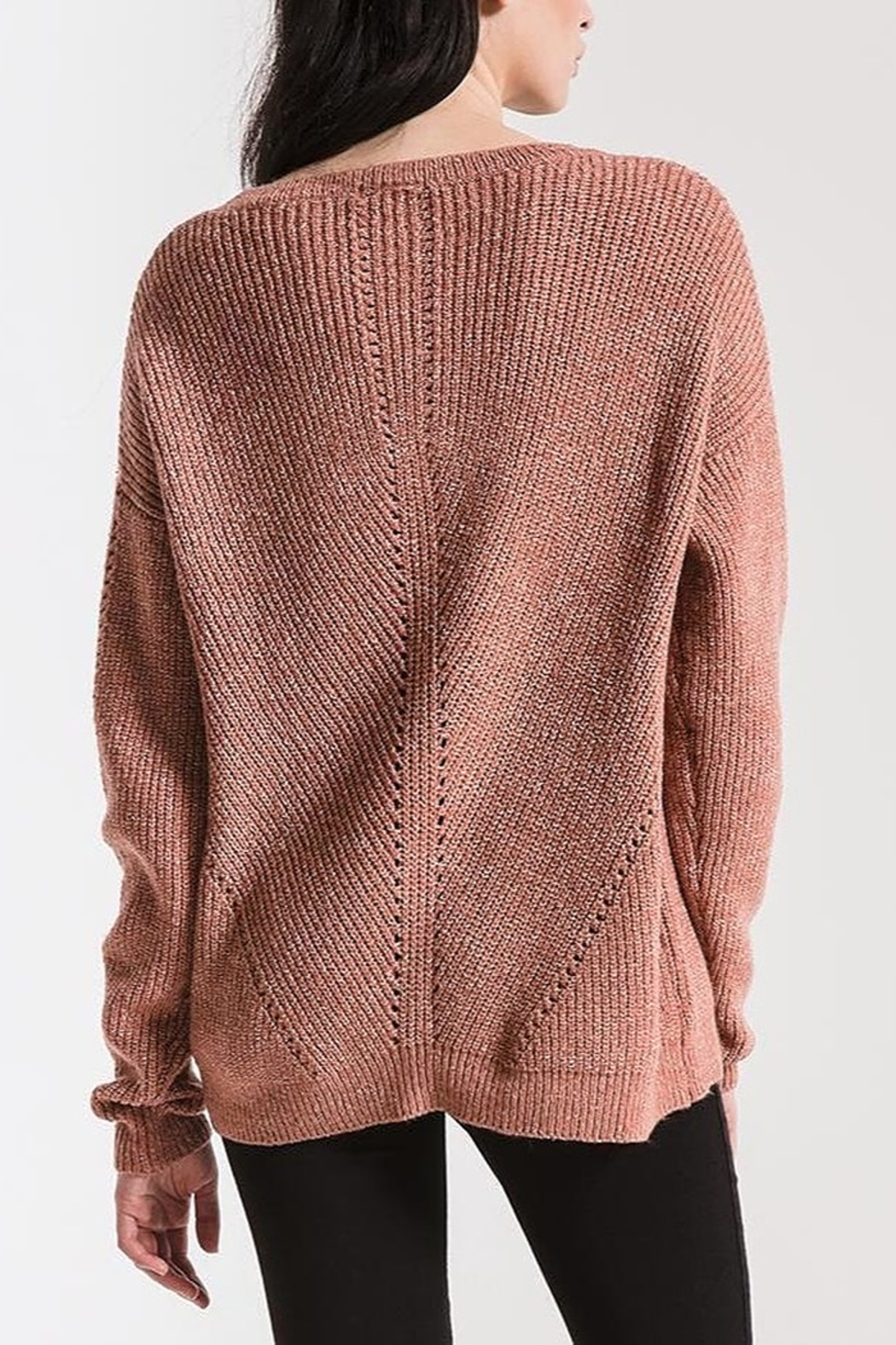 rag poets Eyelet Crew Sweater - Side Cropped Image