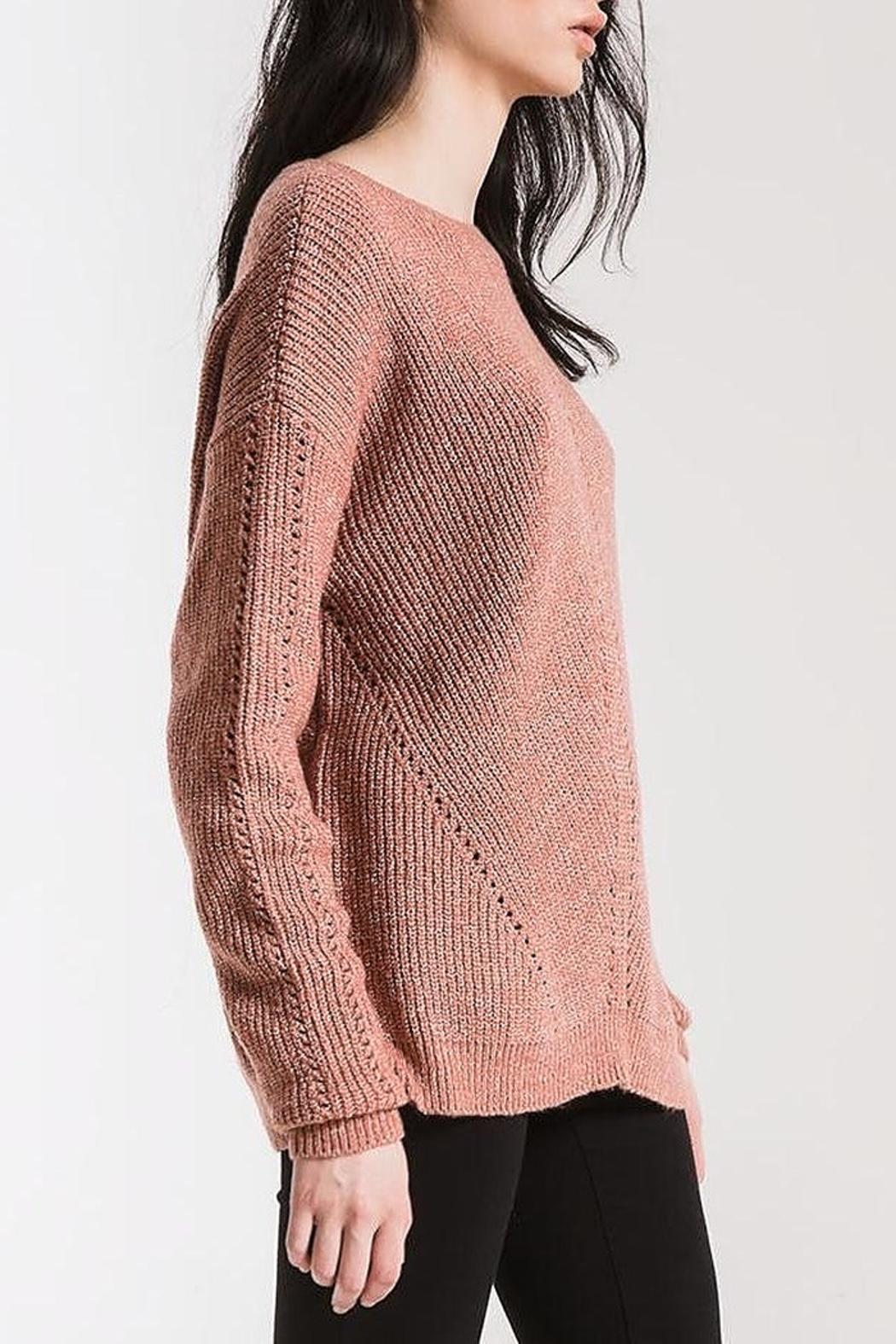 rag poets Eyelet Crew Sweater - Front Full Image