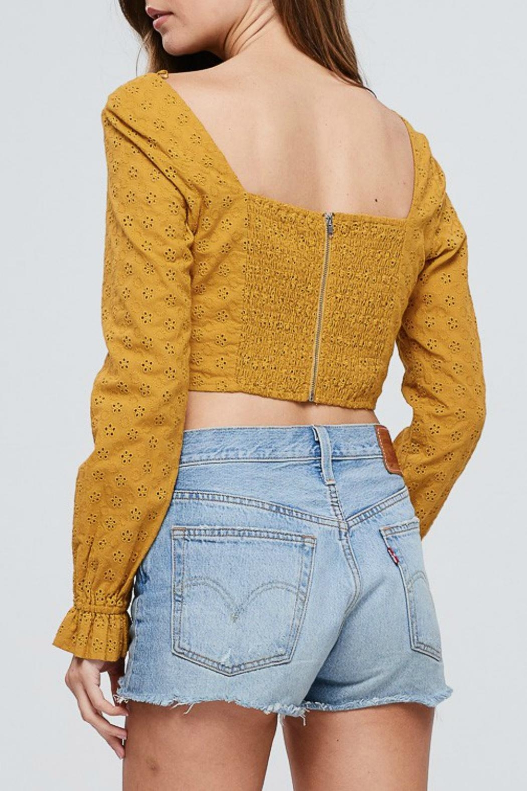 Pretty Little Things Eyelet Crop Top - Front Full Image