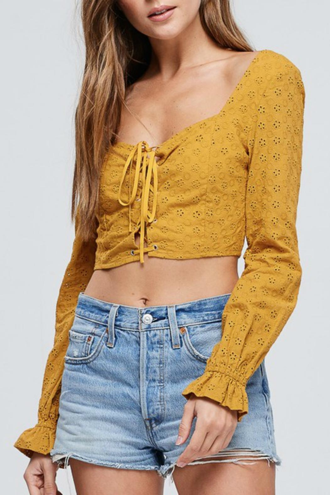 Pretty Little Things Eyelet Crop Top - Front Cropped Image