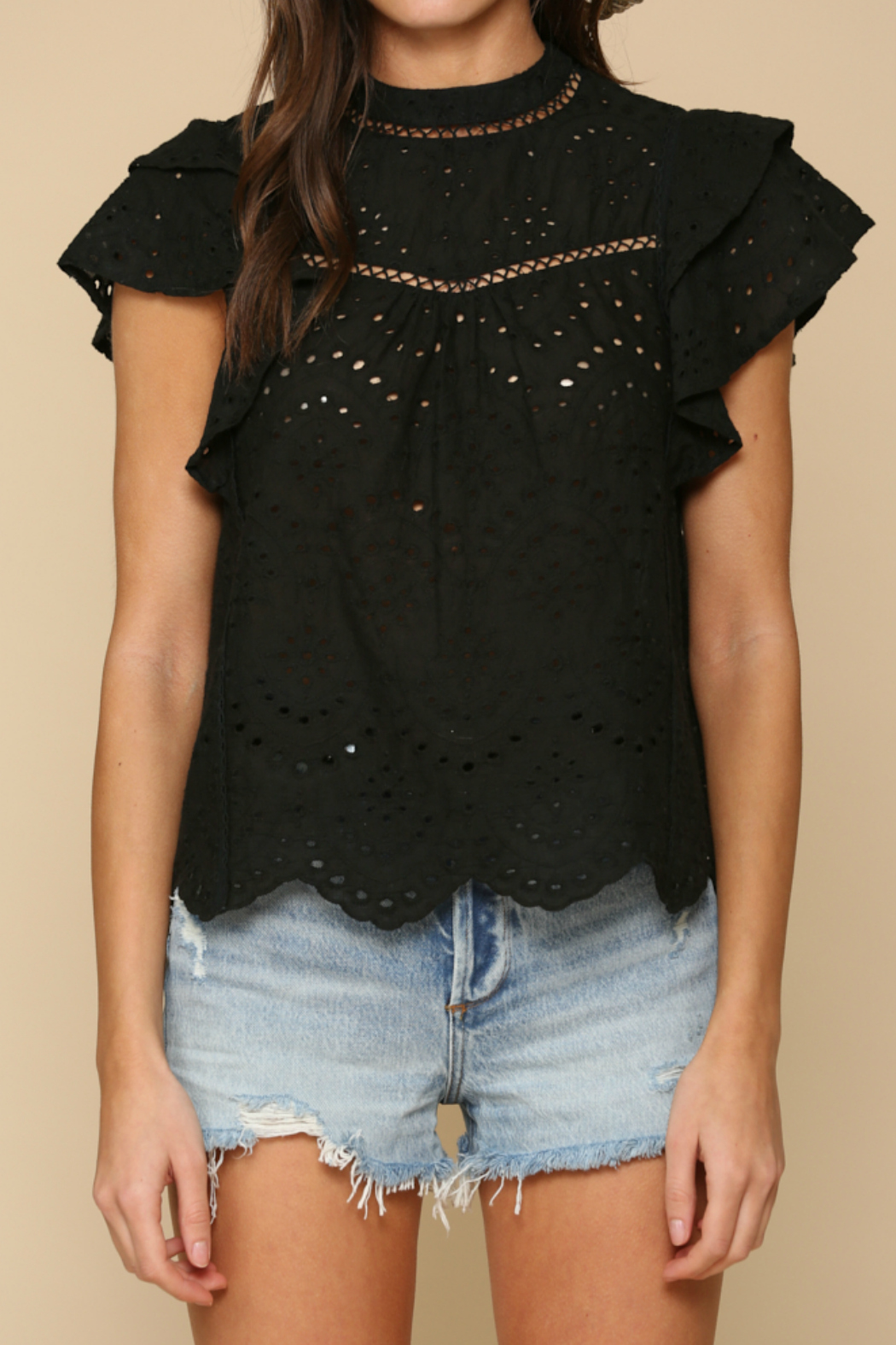 By Together  eyelet detailed Top - Main Image