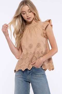 Moon River Eyelet Embroidered Top - Product List Image