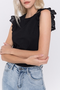 FREE THE ROSES Eyelet Flutter Sleeve Top - Product List Image