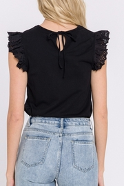 FREE THE ROSES Eyelet Flutter Sleeve Top - Side cropped