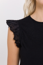 FREE THE ROSES Eyelet Flutter Sleeve Top - Front full body