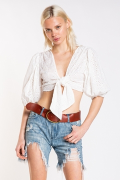 Skylar & Madison Eyelet Knot Front Top - Product List Image
