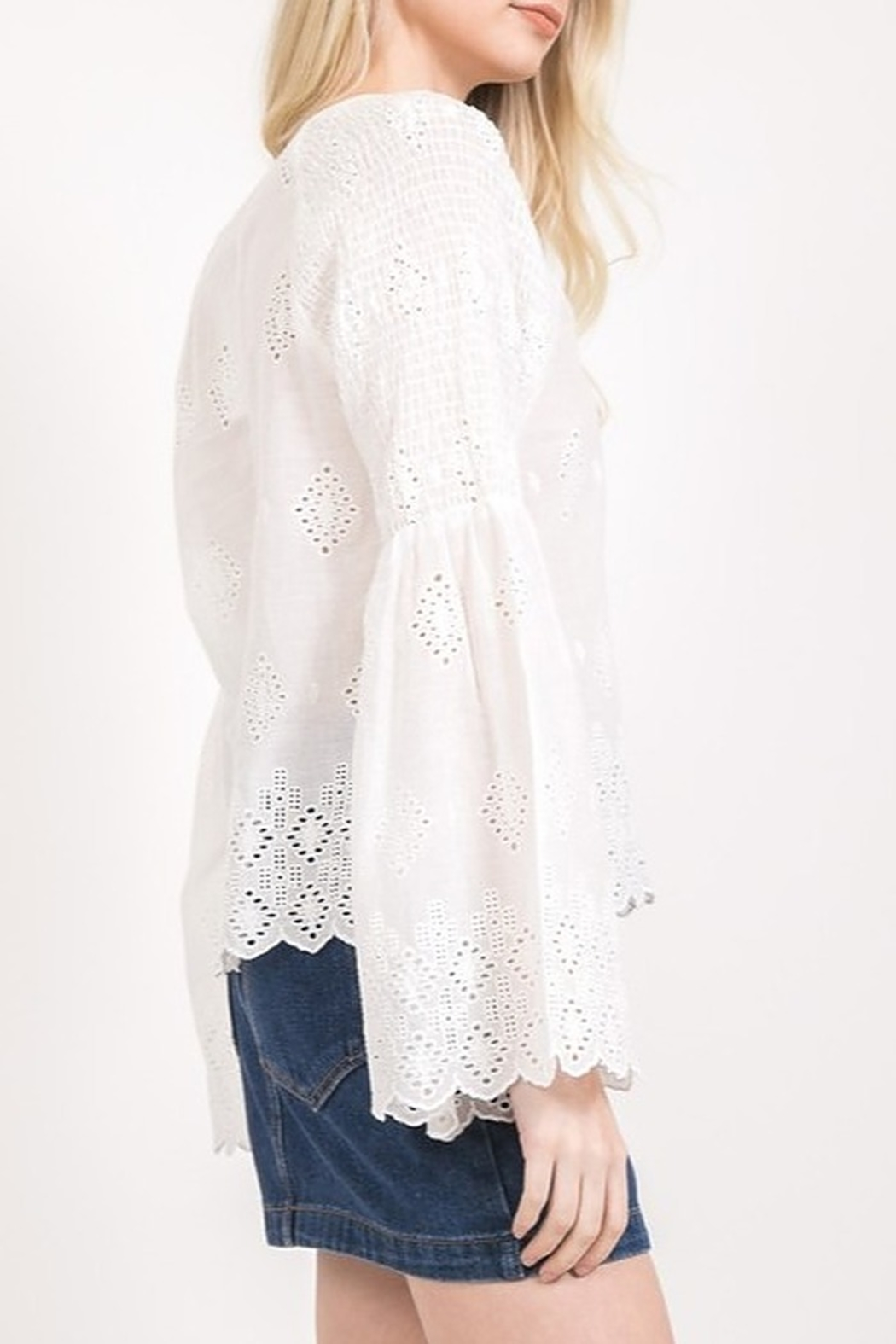 Very J Eyelet Lace Blouse - Front Full Image
