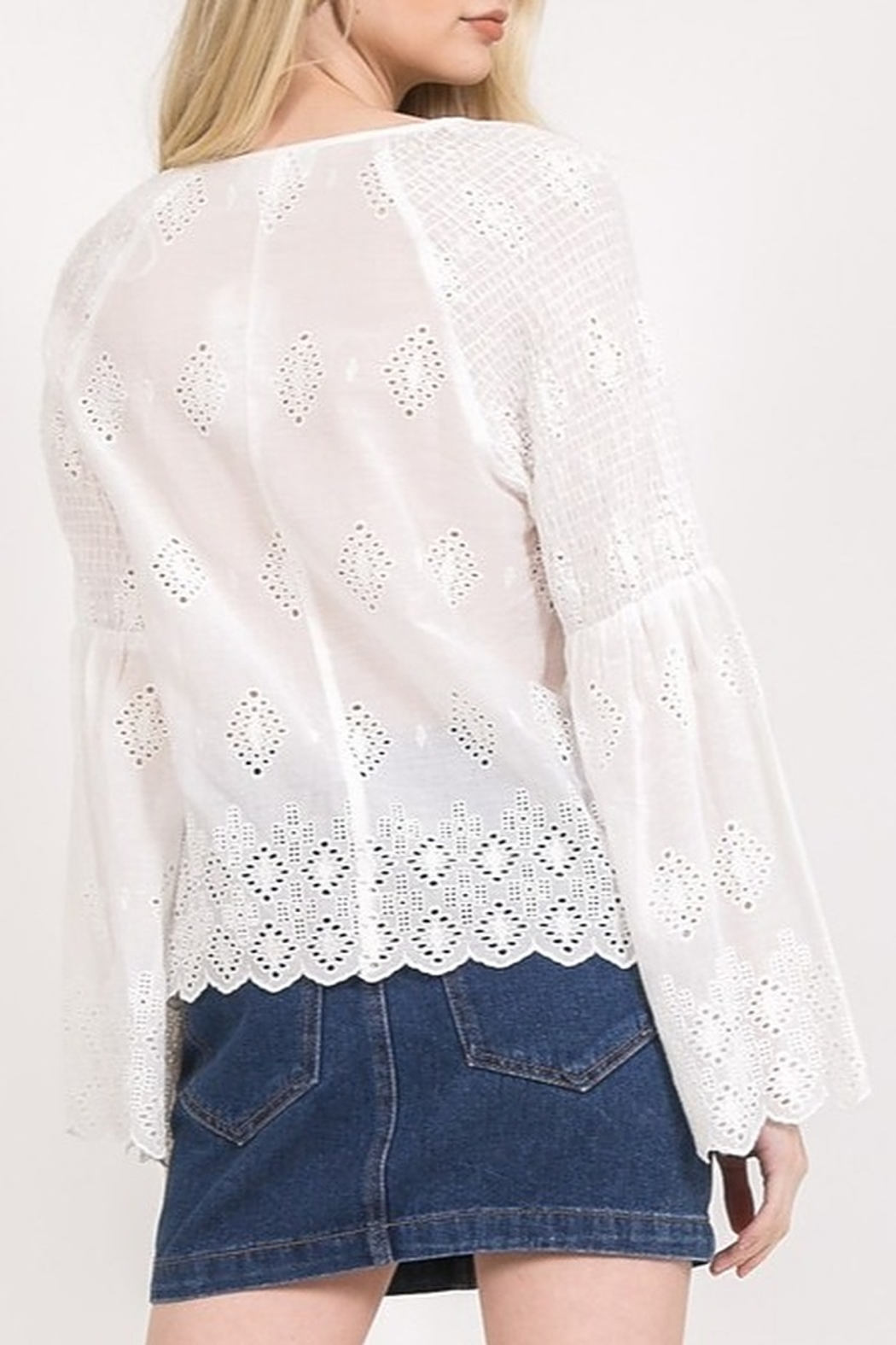 Very J Eyelet Lace Blouse - Side Cropped Image