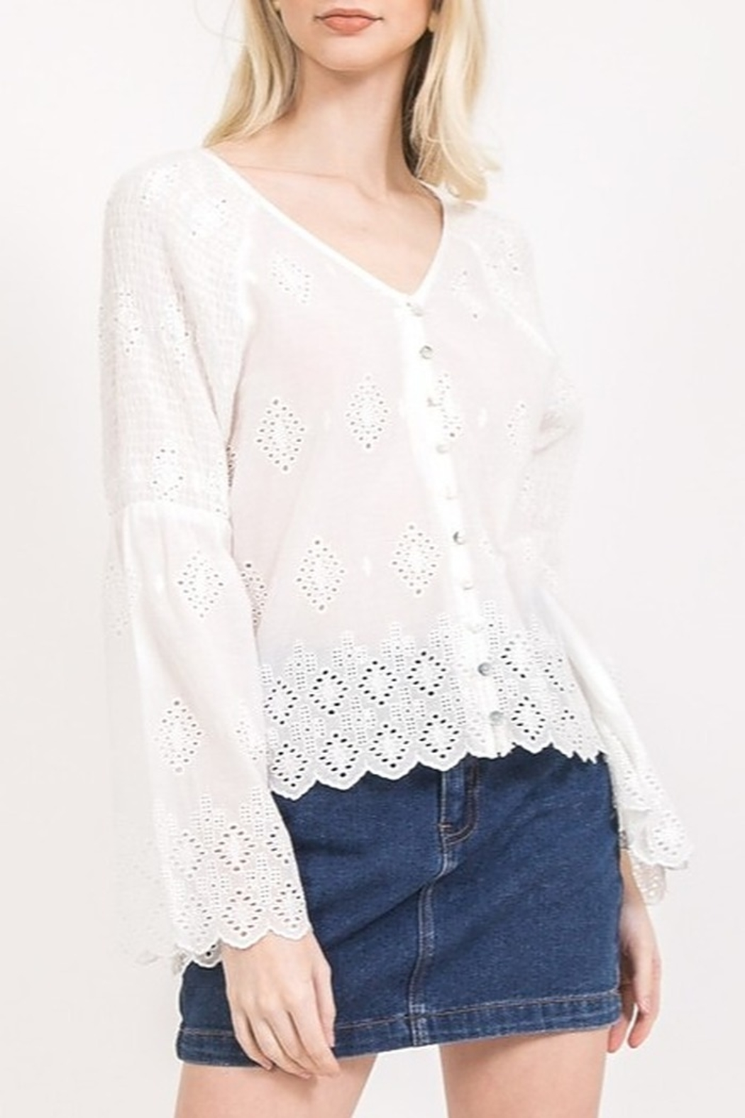 Very J Eyelet Lace Blouse - Front Cropped Image