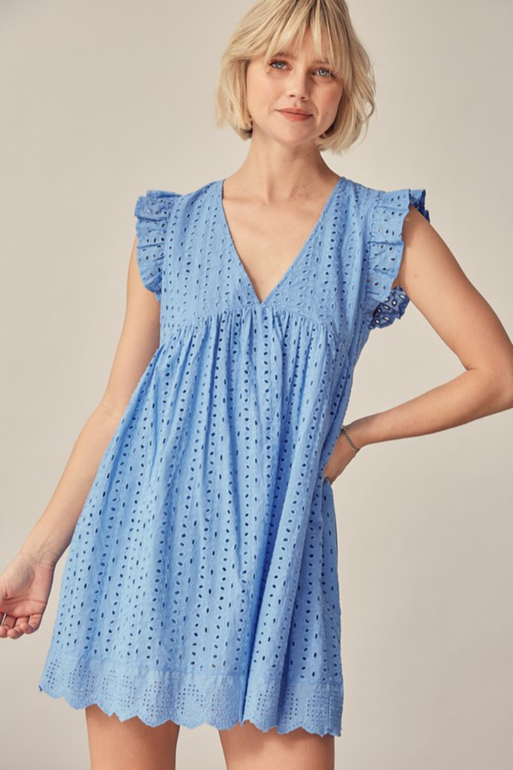 Mustard Seed  Eyelet Lace Romper - Front Full Image