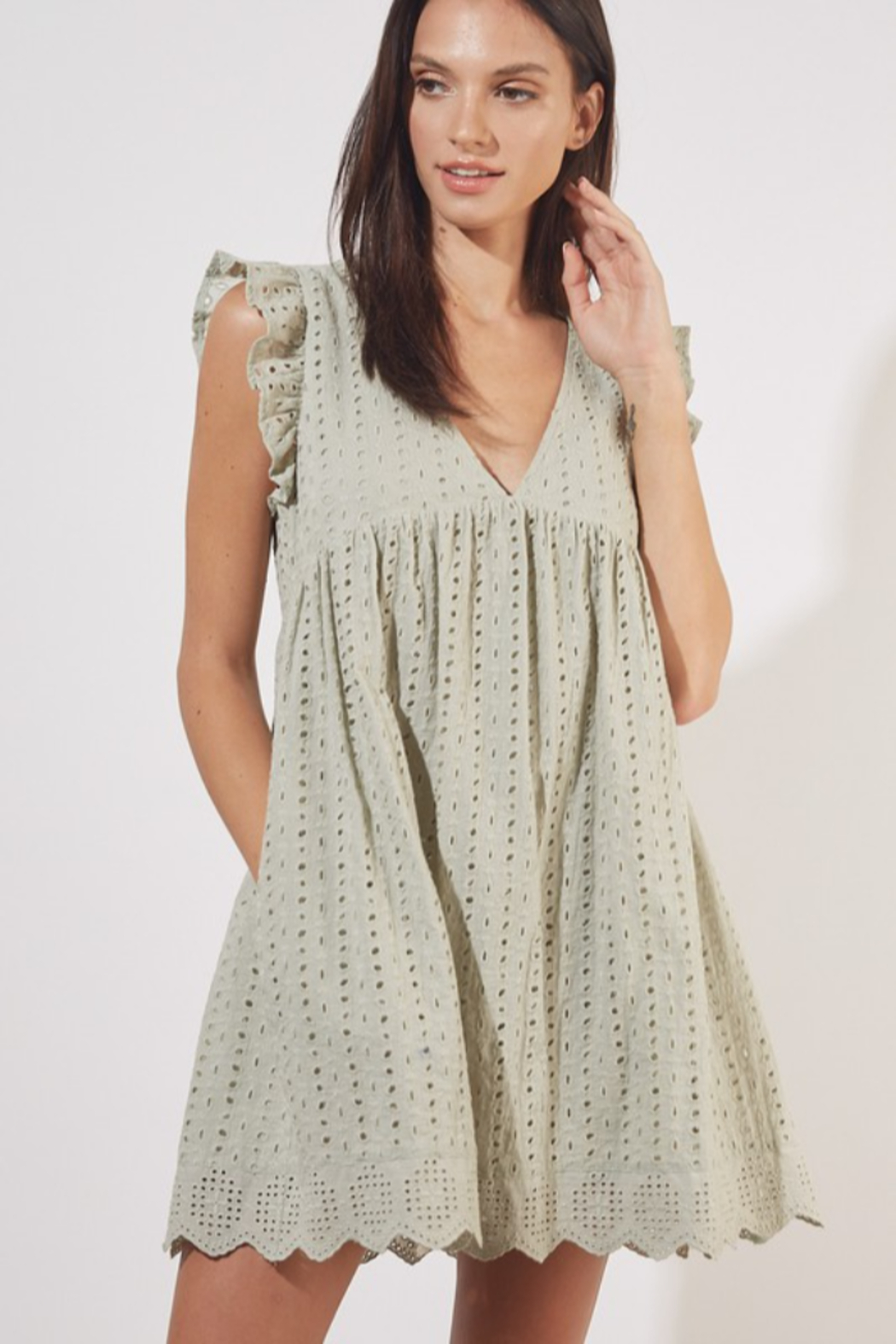 Mustard Seed  Eyelet Lace Romper - Front Cropped Image