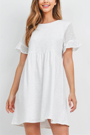 Lyn -Maree's Eyelet Lace Sleeve Cotton Mini - Front cropped