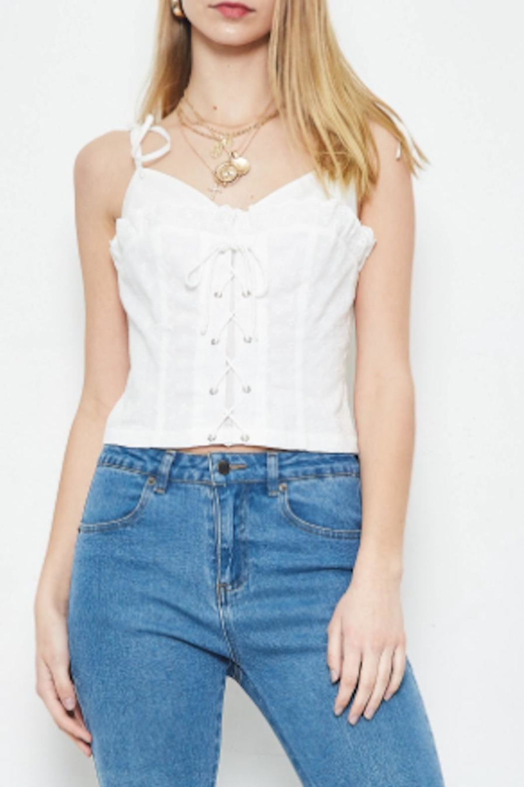 TIMELESS Eyelet Lace Tank - Front Cropped Image