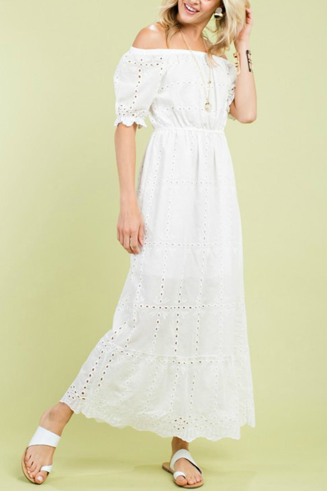 Pretty Little Things Eyelet Maxi Dress - Front Full Image
