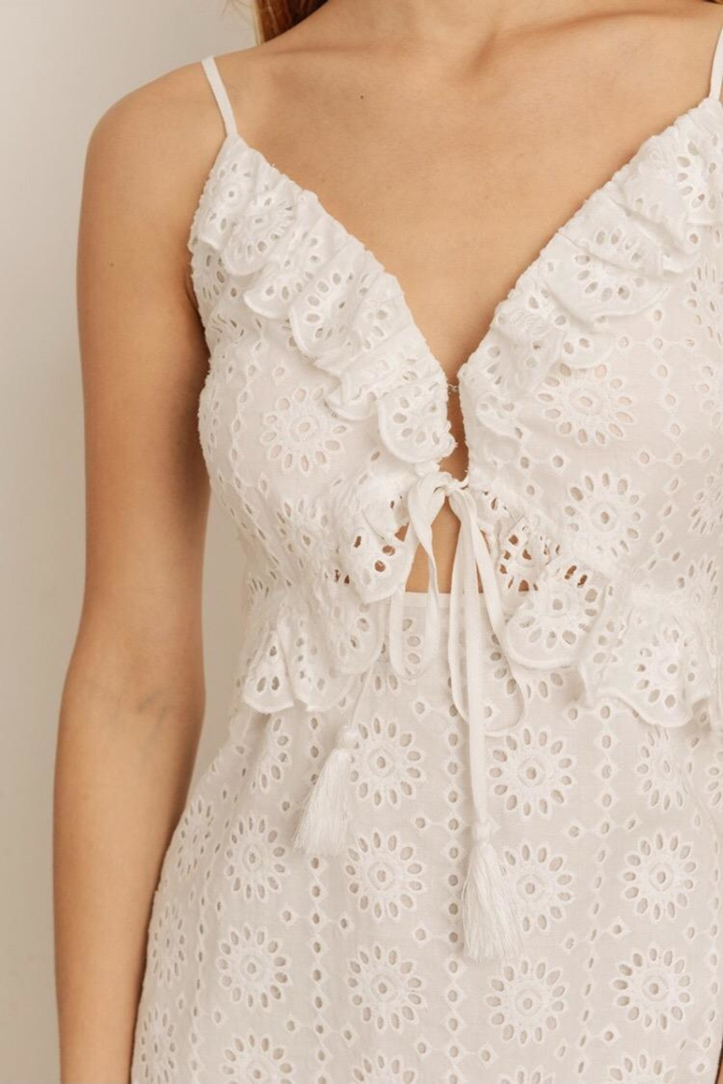 storia Eyelet Midi Dress - Back Cropped Image