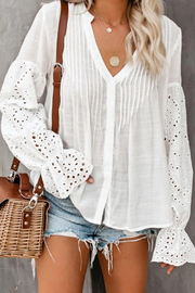 R+D  Eyelet Poet Sleeve Top - Product Mini Image