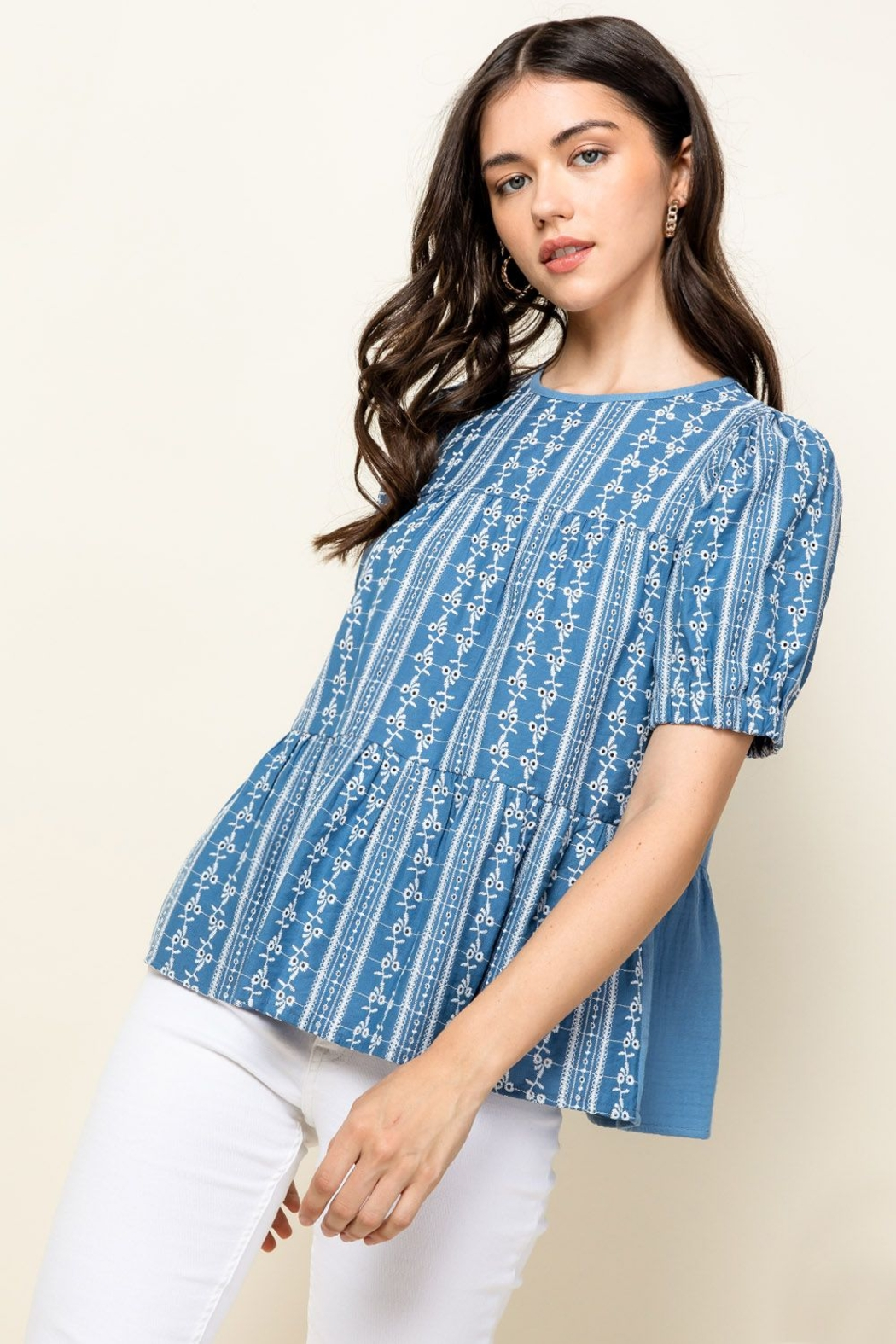 Thml Eyelet Puff Sleeve Top - Main Image