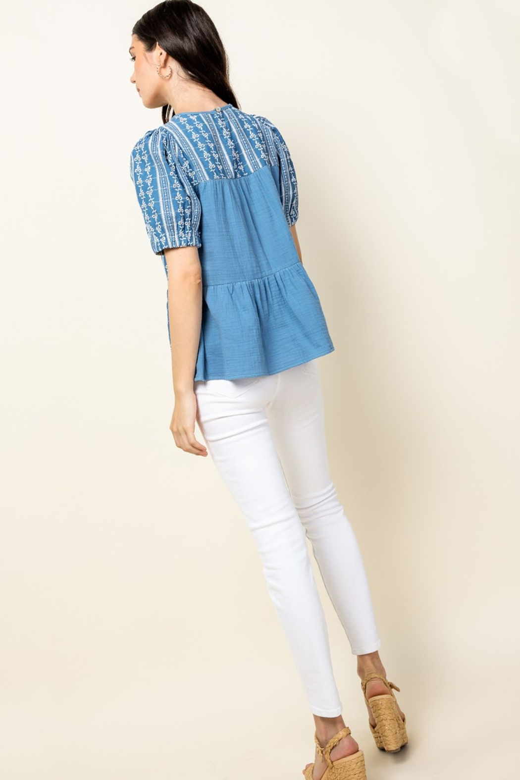 Thml Eyelet Puff Sleeve Top - Back Cropped Image