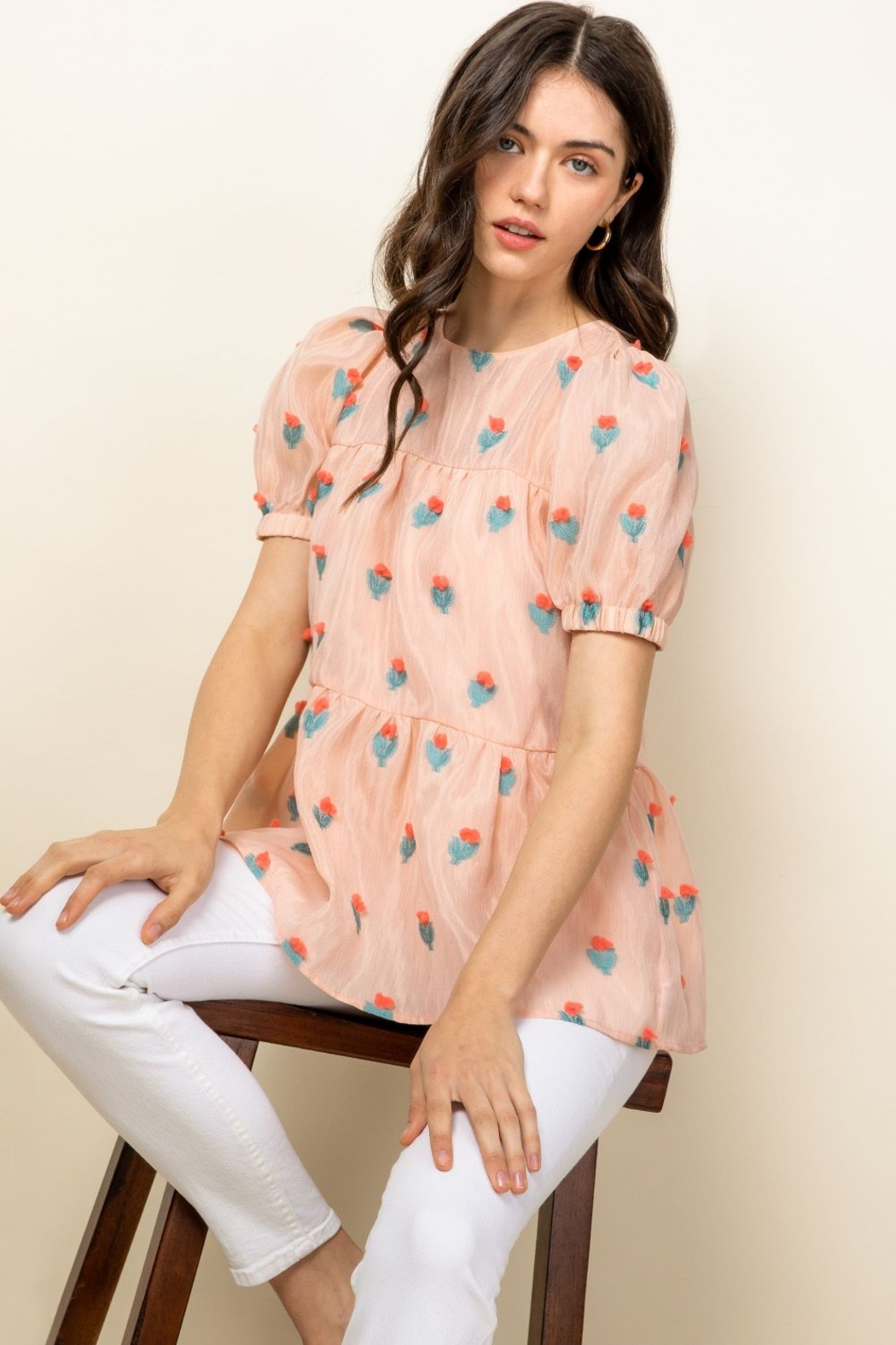 Thml Eyelet Puff Sleeve Top - Front Full Image