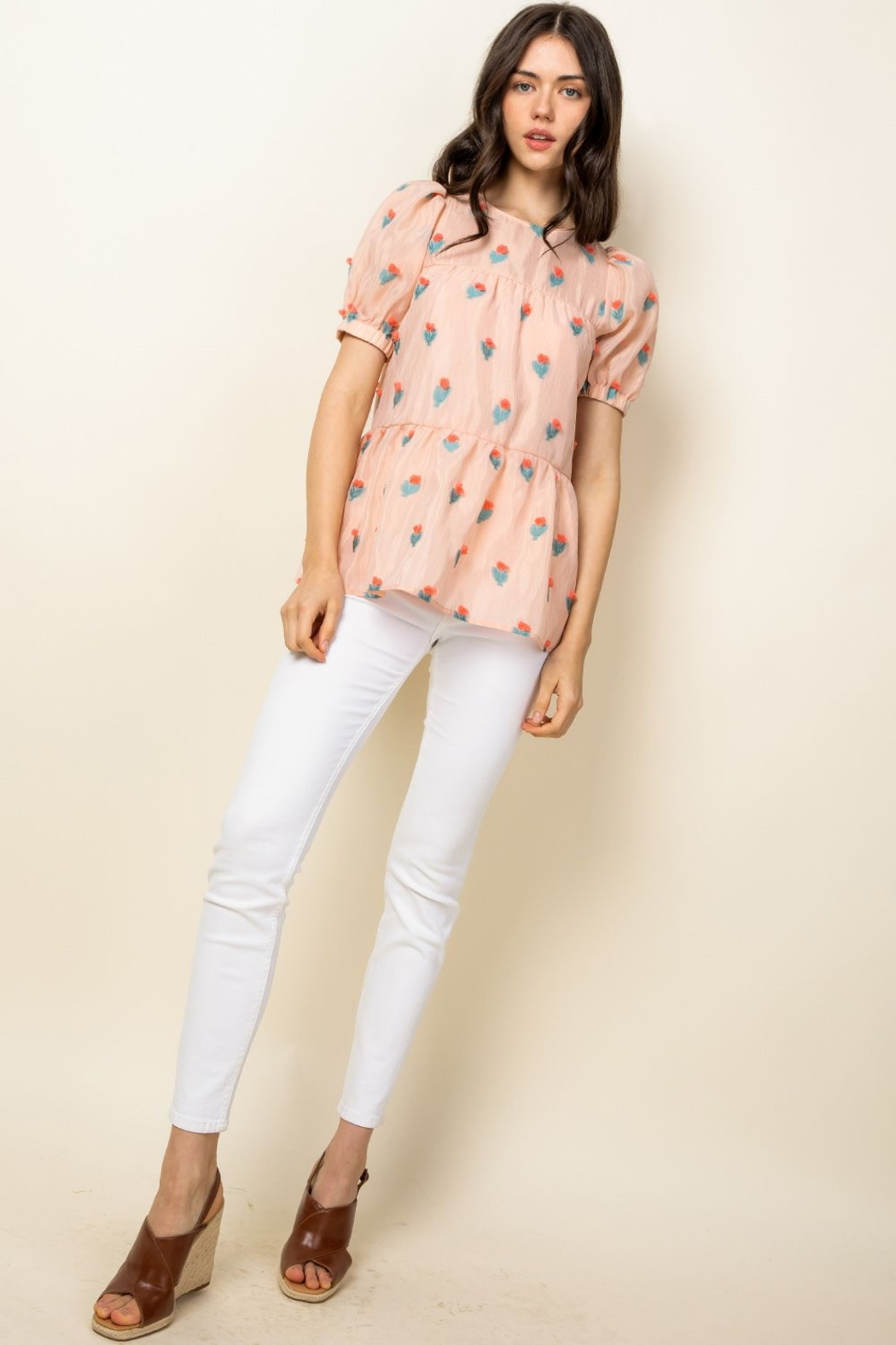 Thml Eyelet Puff Sleeve Top - Side Cropped Image
