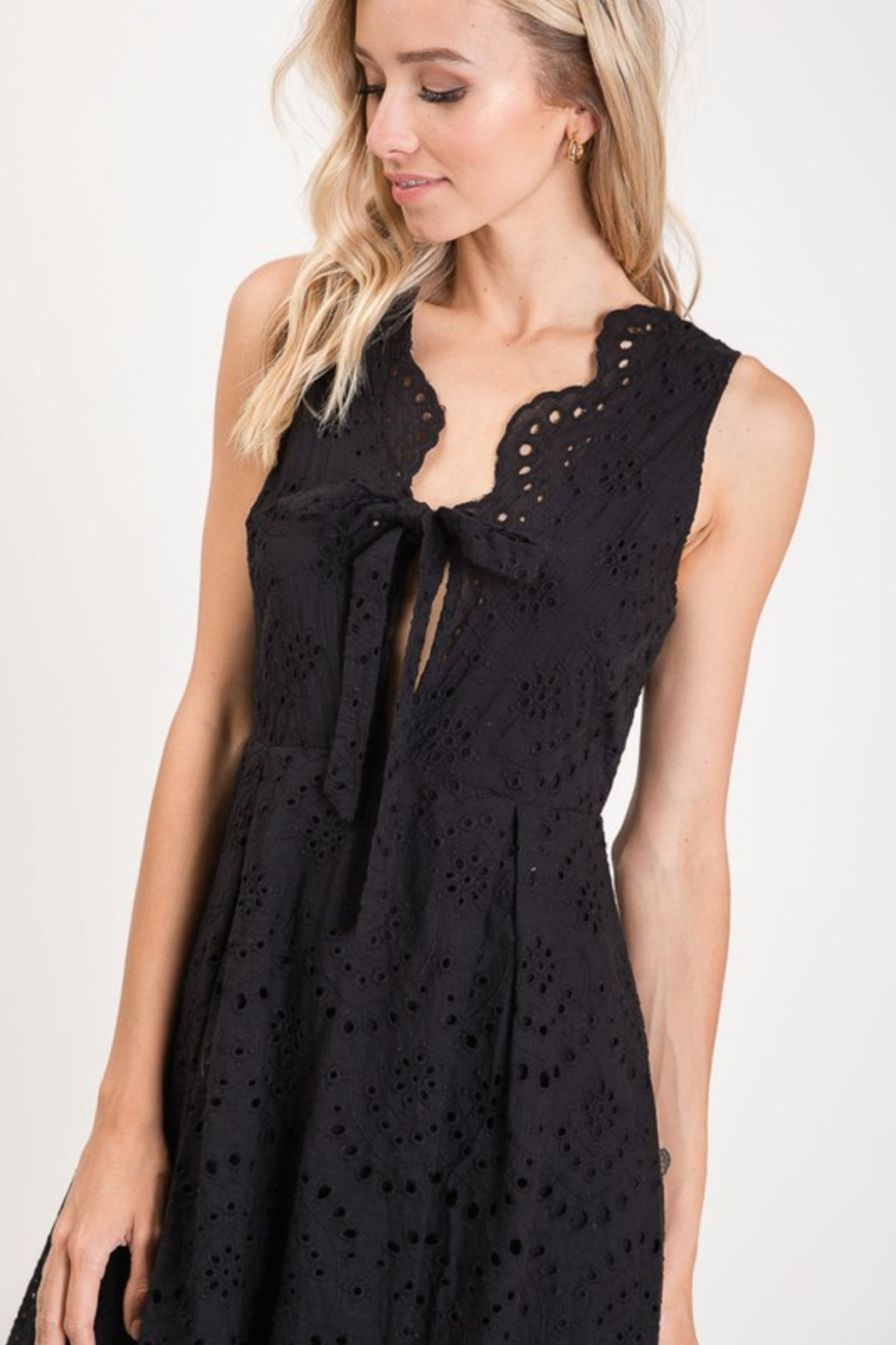 R+D  Eyelet Scallop Tie Dress - Front Full Image