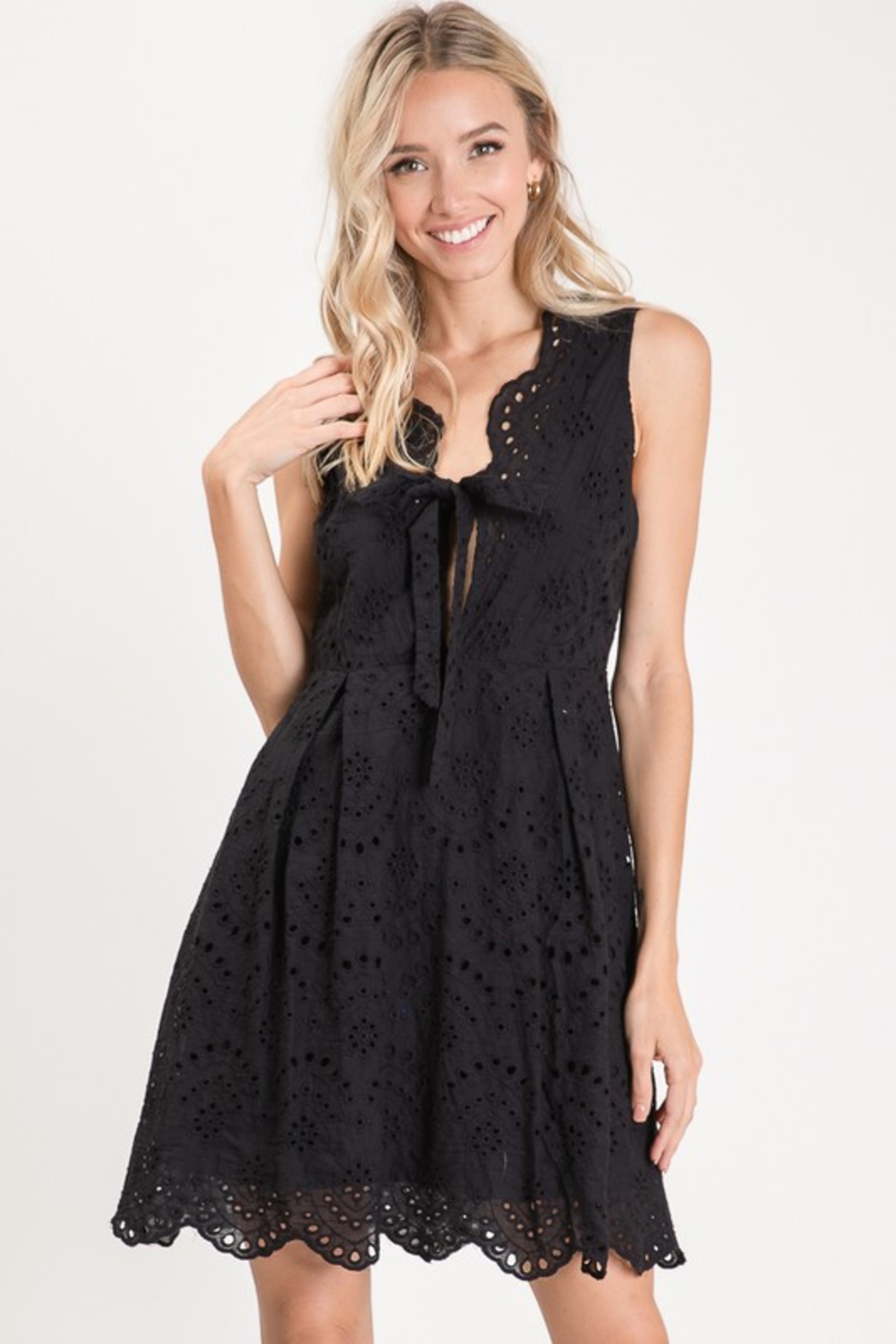 R+D  Eyelet Scallop Tie Dress - Main Image