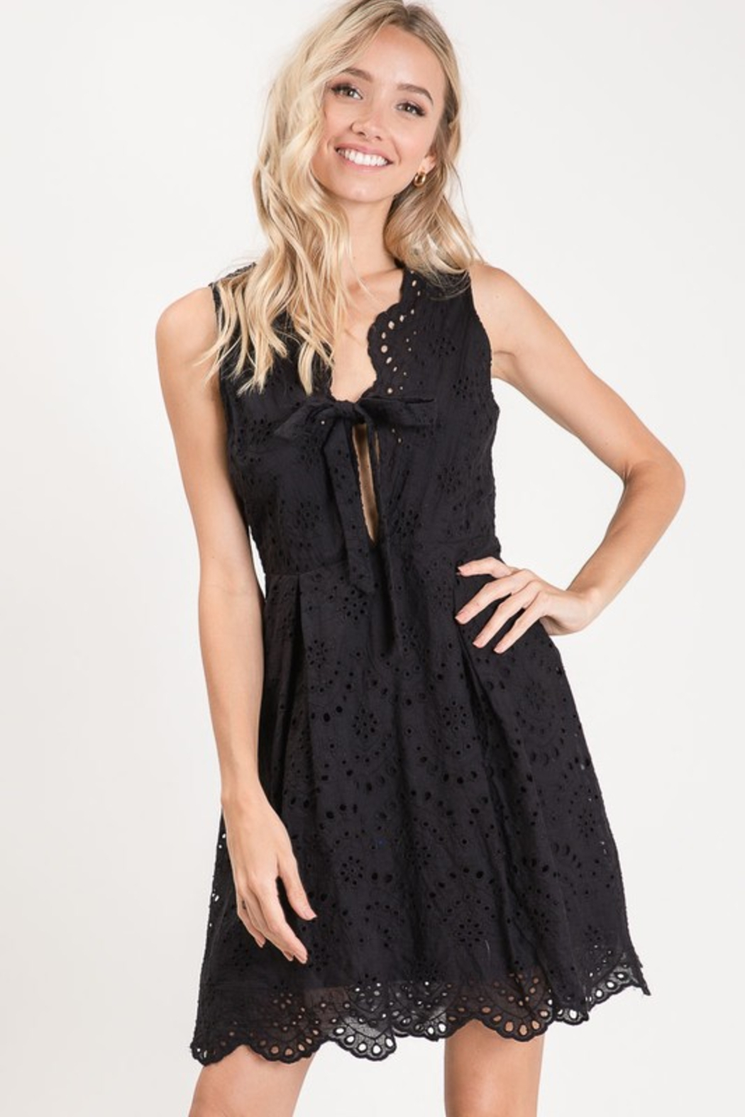 R+D  Eyelet Scallop Tie Dress - Back Cropped Image