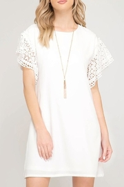 She + Sky Eyelet Sleeve Dress - Product Mini Image