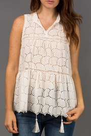 WREN & WILLA Eyelet Sleeveless Blouse - Product Mini Image