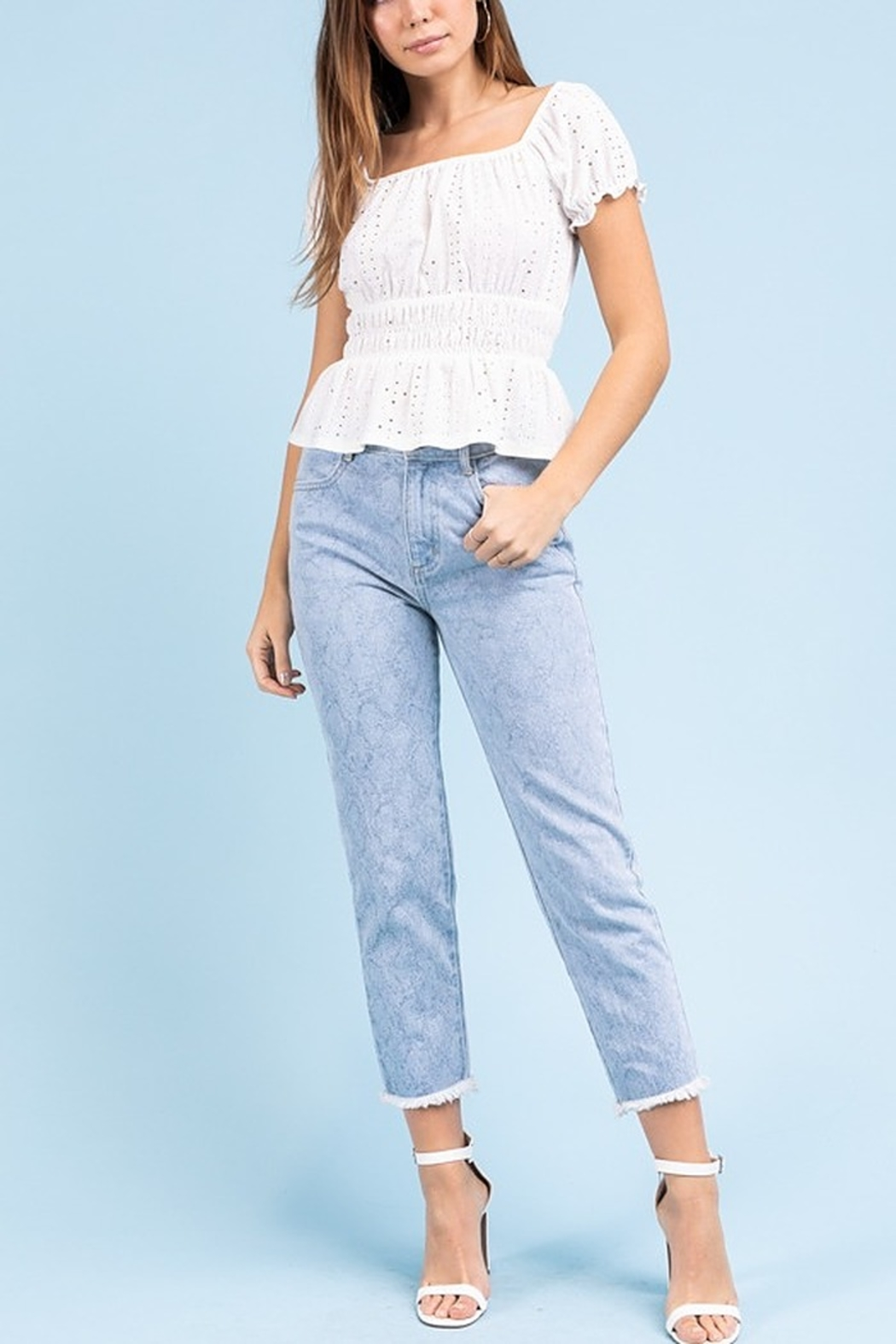 Le Lis Eyelet Smock Top - Front Cropped Image