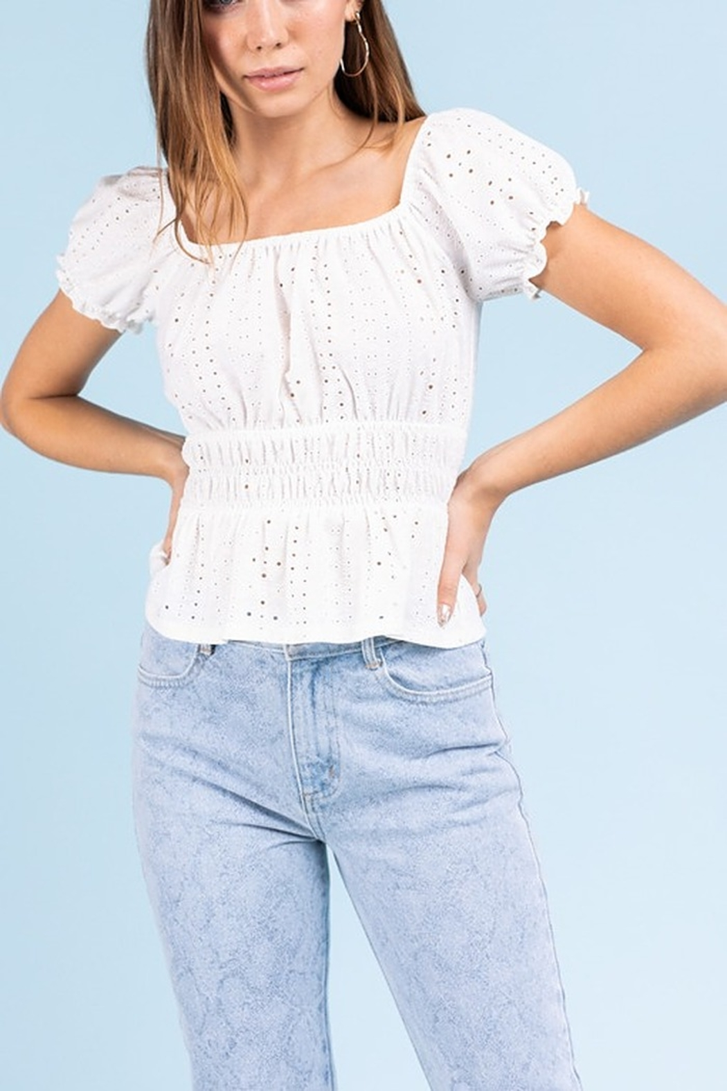 Le Lis Eyelet Smock Top - Front Full Image