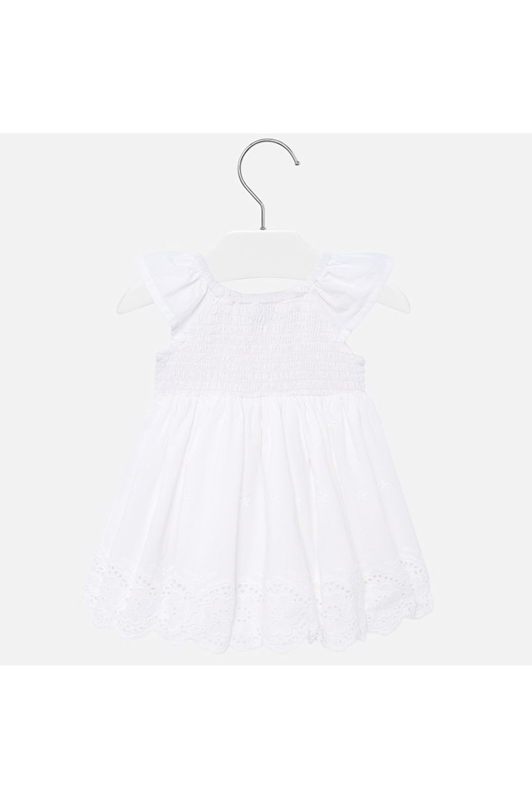 Mayoral Eyelet Smocked Baby Dress - Front Full Image