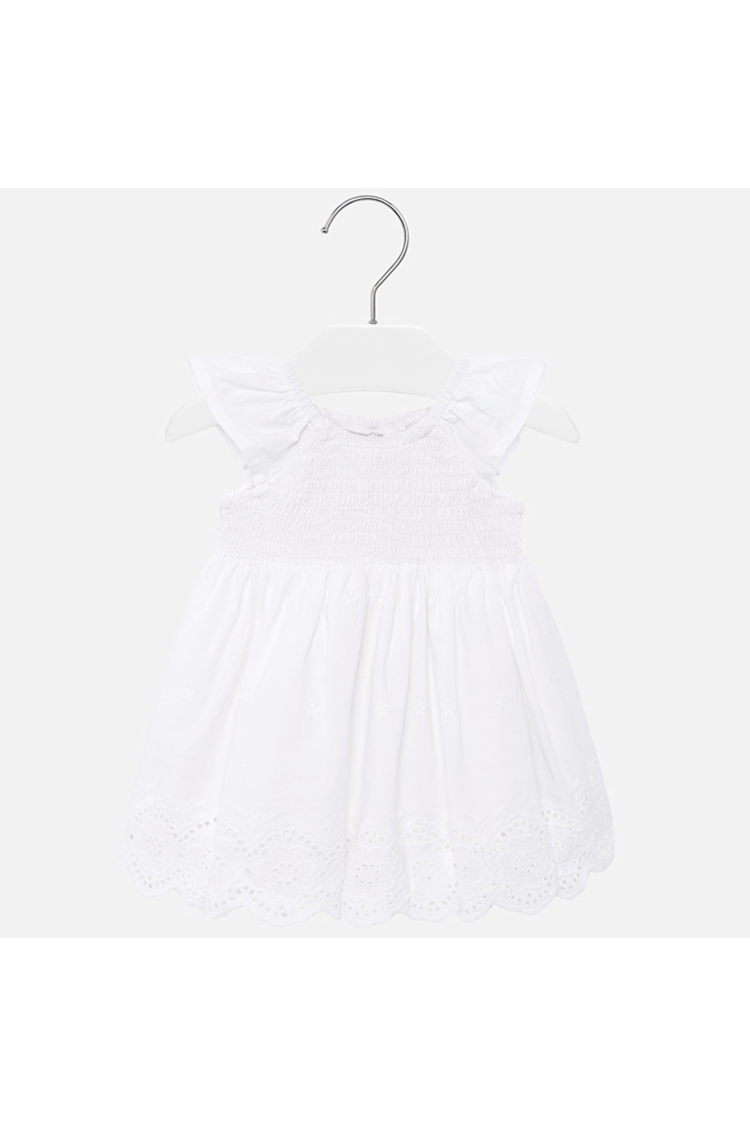 Mayoral Eyelet Smocked Baby Dress - Front Cropped Image