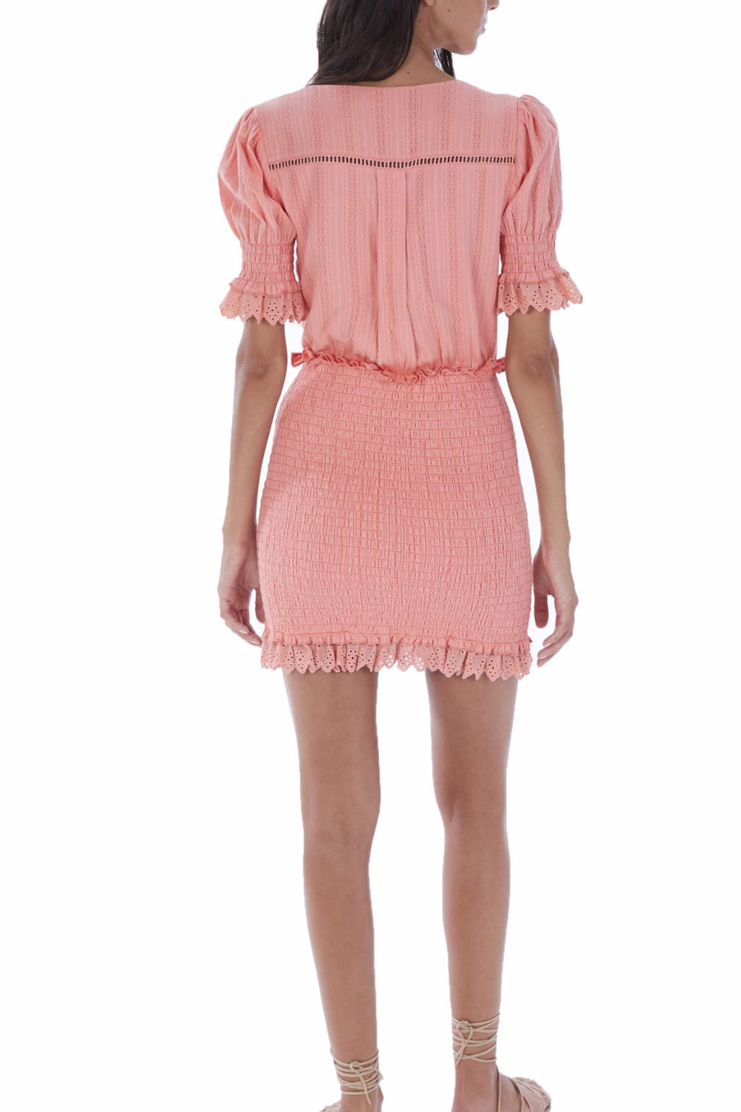 Allison Collection Eyelet Smocked Dress - Front Full Image