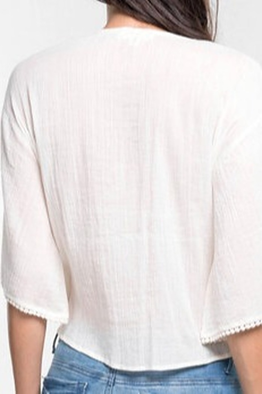 Lovestitch Eyelet Tie Front Top - Front Full Image