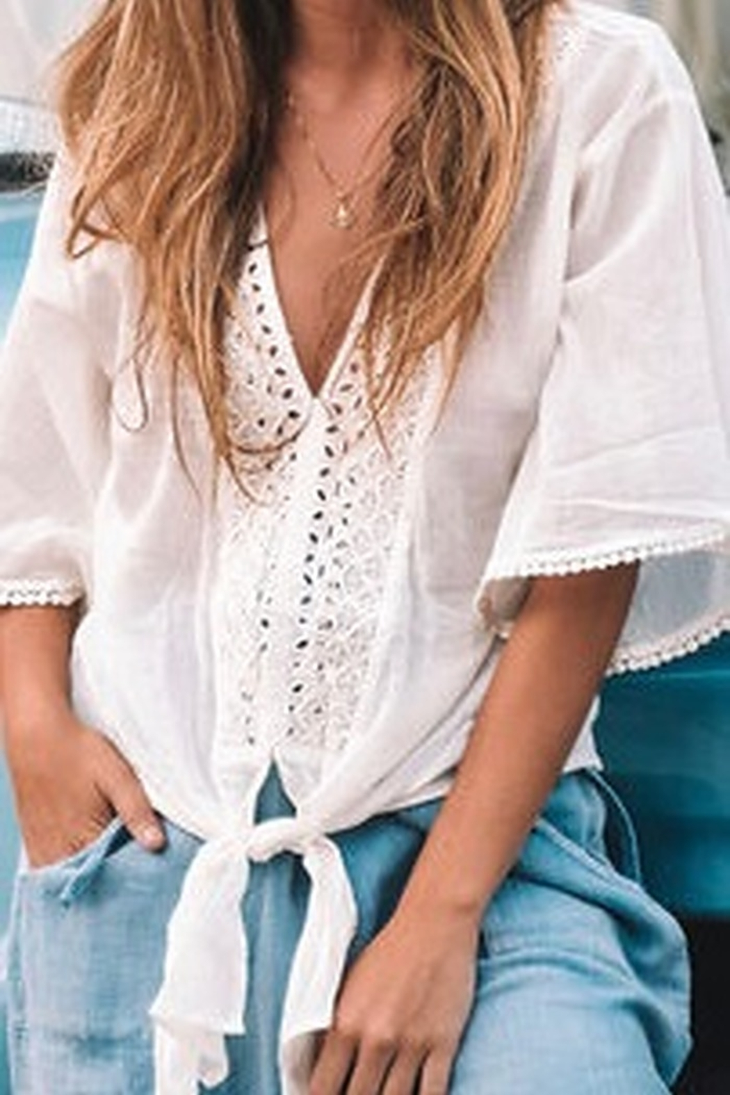 Lovestitch Eyelet Tie Front Top - Main Image