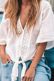 Lovestitch Eyelet Tie Front Top - Front cropped