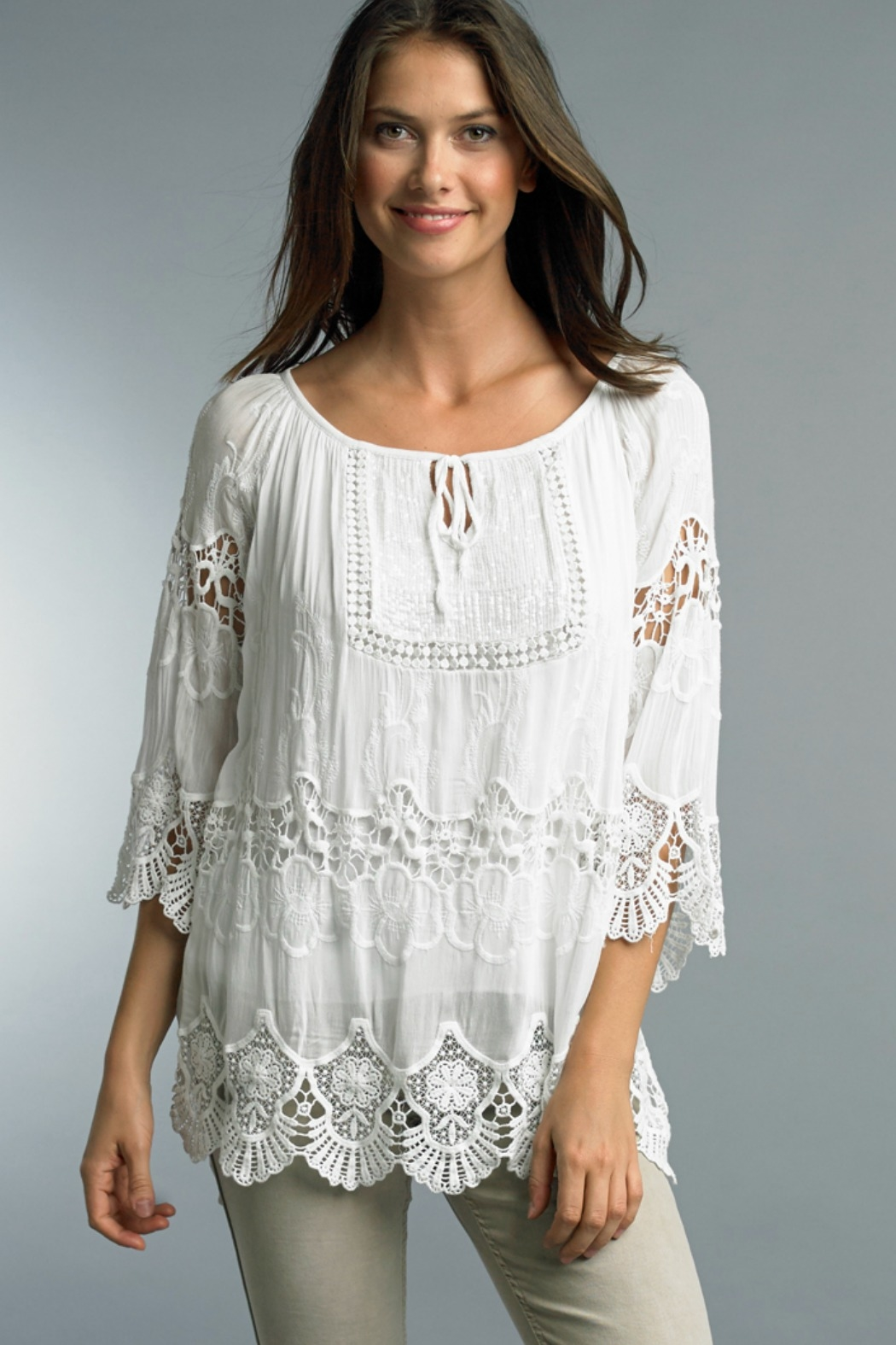 Tempo Paris Eyelet Tie Neck 3/4 Top - Main Image