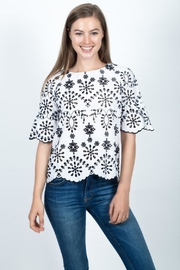 Given Kale Eyelet Top - Front cropped