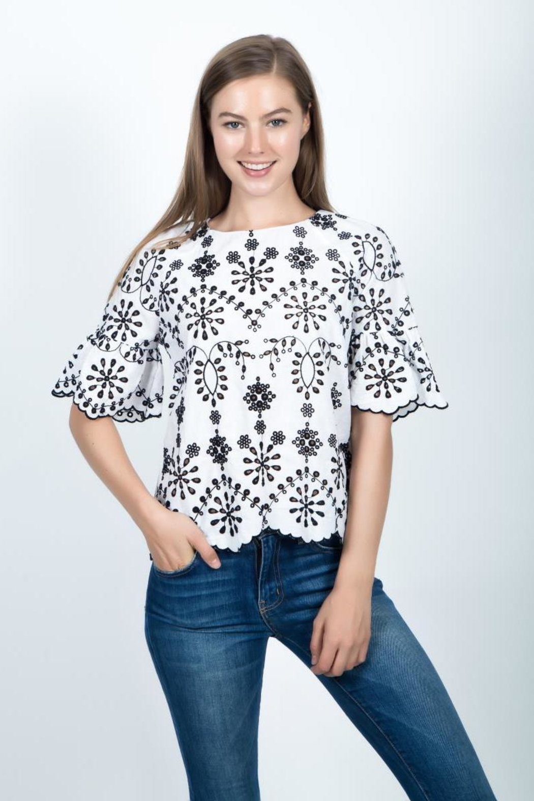Given Kale Eyelet Top - Front Full Image