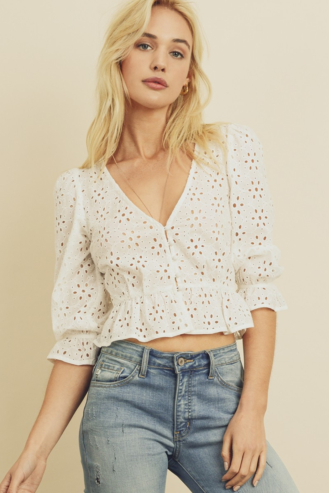 dress forum Eyelet Top - Front Cropped Image