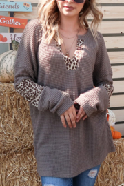 And the Why Eyelet Trim Neck Waffle Knit Leopard Print Top - Product Mini Image