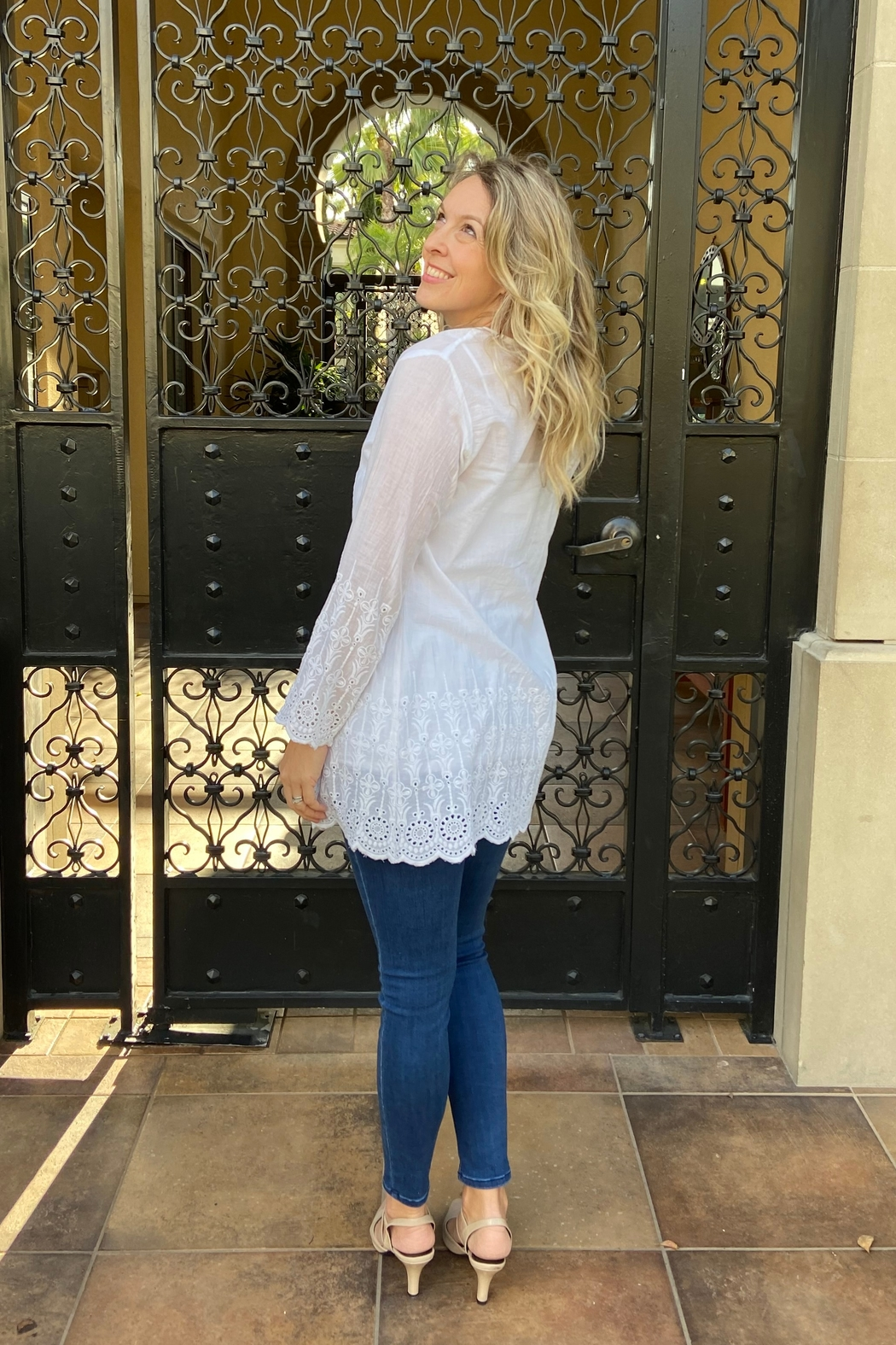 Apparel Love eyelet tunic - Front Full Image
