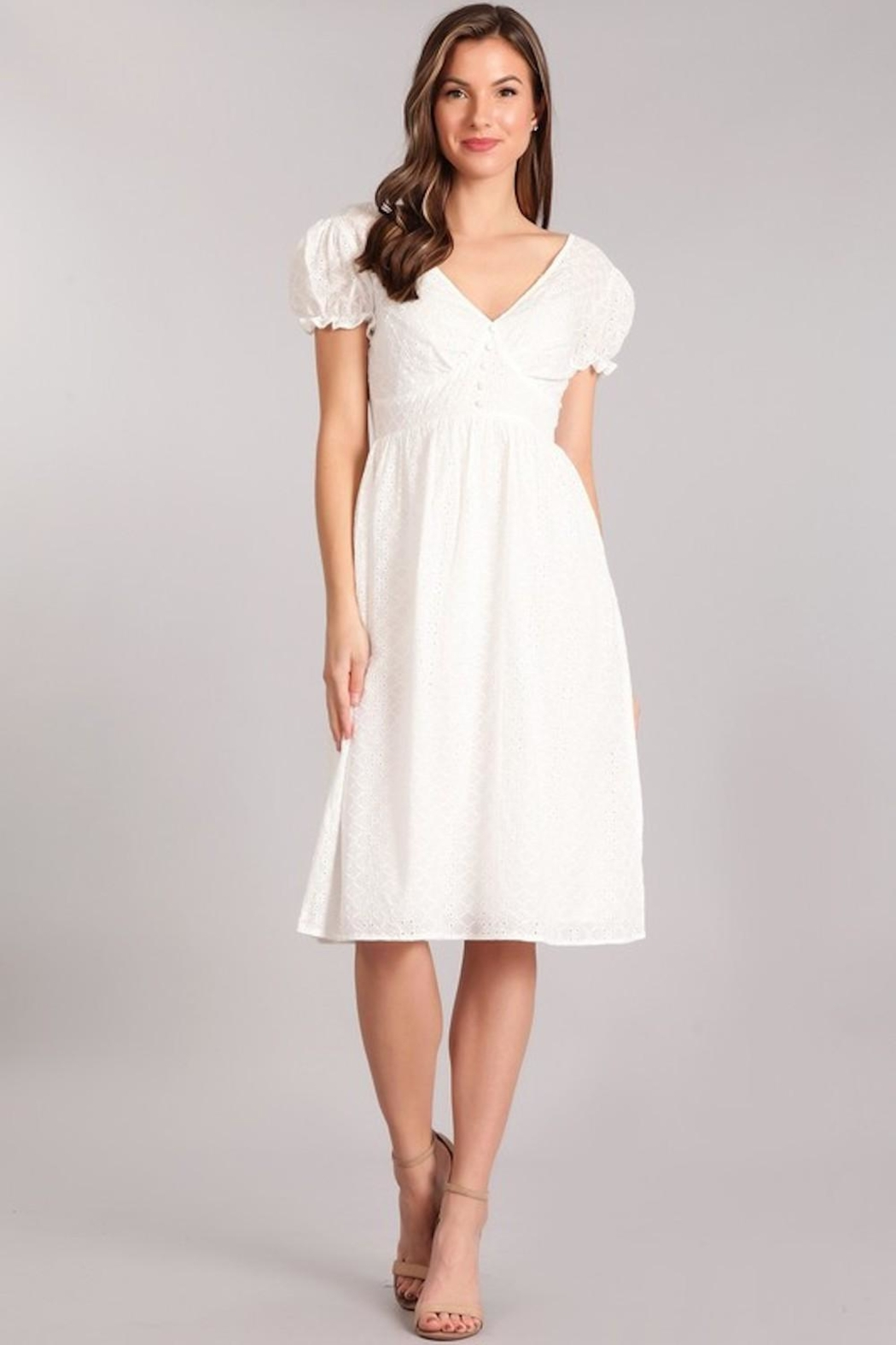 Verty Eyelet White Midi - Main Image