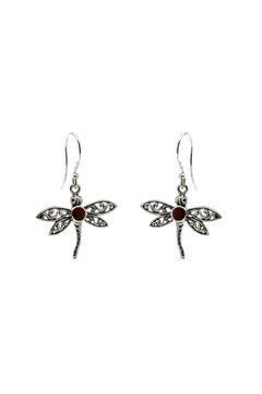 Eyes of the World Imports Dragonfly Coral Earrings - Alternate List Image