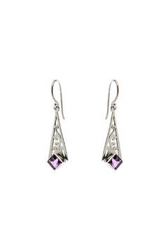Eyes of the World Imports Sterling Amethyst Earrings - Alternate List Image