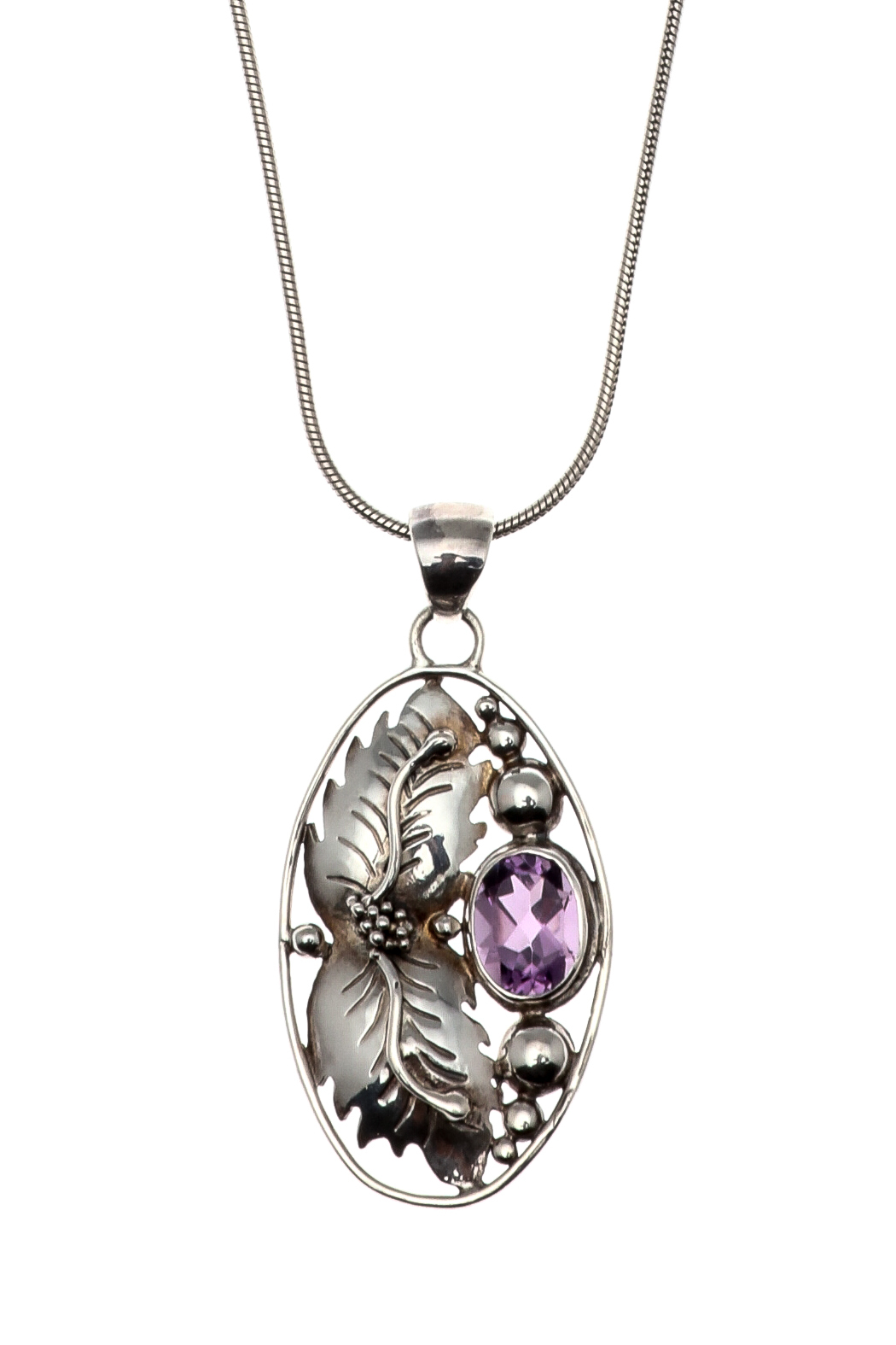 Eyes of the World Imports Sterling Amethyst Pendant - Front Full Image